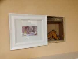 Inside wall stash with white frame