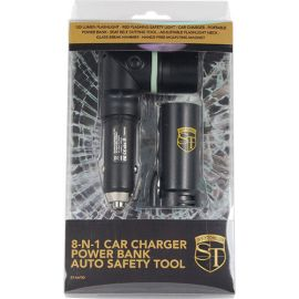 8-N-1 Car Charger Power Bank Auto Safety Tool.